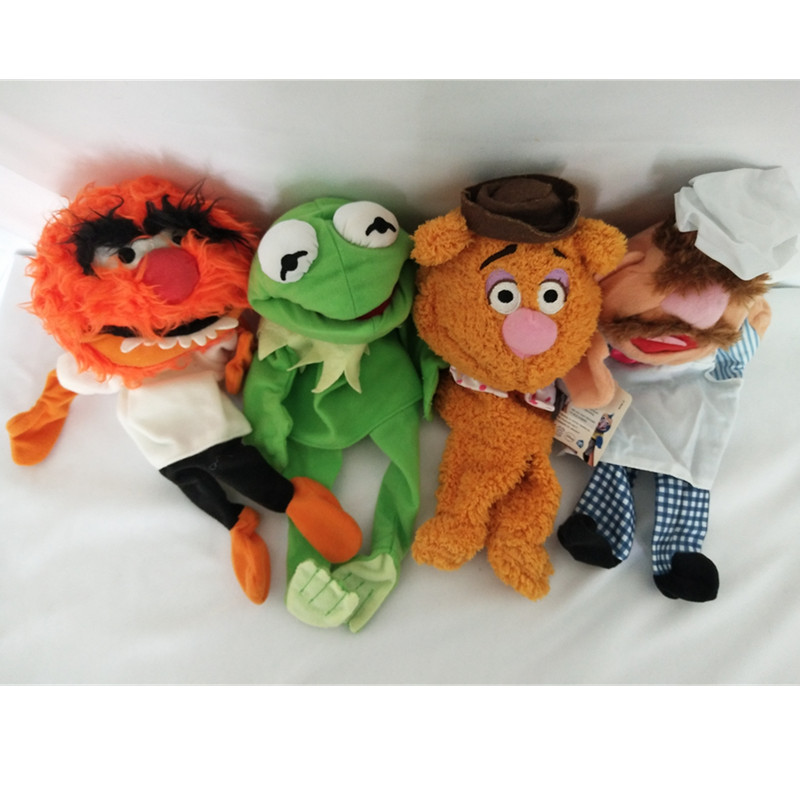 цена Free shipping The Muppet Show plush hand puppets,Kermit the Frog,Fozzie Bear,drummer,The Swedish Chef, doll for kids toy dolls в интернет-магазинах