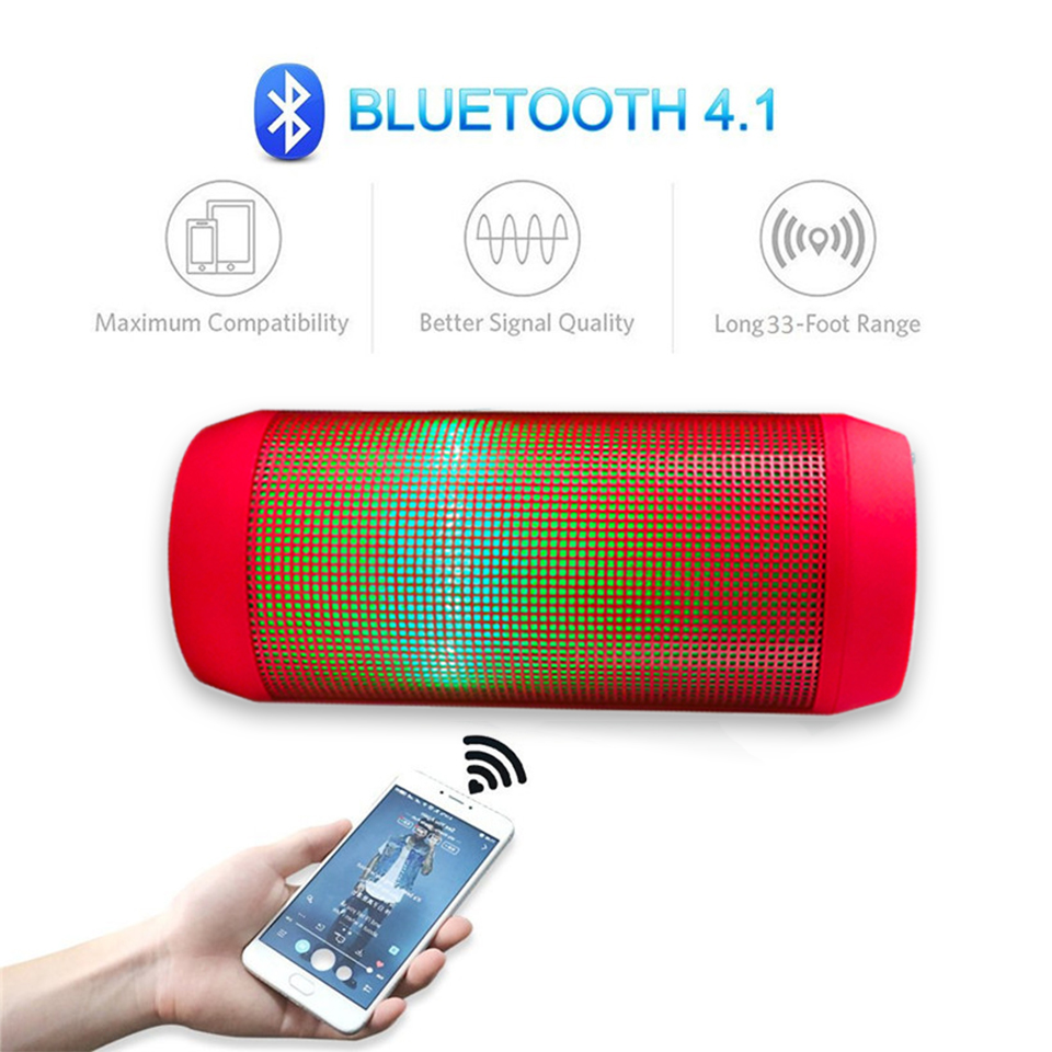 Wireless Bluetooth Speaker Portable LED Flashing Light Sound Box Subwoofer Bluetooth Column Speakerphone Luminous Speakers in Subwoofer from Consumer Electronics
