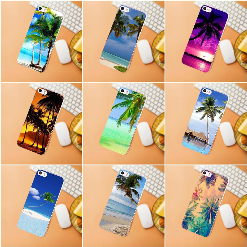 Maerknon Landscape Sea Beach Coconut-tree For iPhone 4 4S 5 5C SE 6 6S 7 8 Plus X HTC Desire 628 630 816 820 One A9 M7 M8 M9 M10