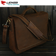 LEXEB  Cow Leather Briefcases For Men, College Satchels Fit 15.6″ Laptop, Flap-Cover Messenger Bag, Brown