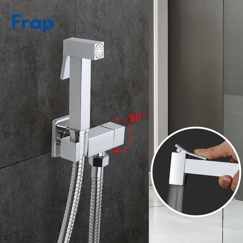 FRAP Bidets chrome bidet faucet mixer with hand sprayer brass bathroom bidet toilet muslin shower clean faucet hygienic shower