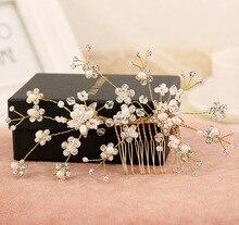 Chapado En oro Accesorios Pelo de la novia hecho a mano del pelo de la Boda joyería Del Partido cristalino Nupcial Estrellada Rhinestone Tiara Peine Del Pelo de la perla
