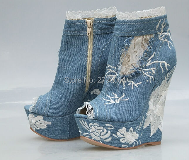Top Quality Blue Jeans Peep Toe Lace Woman Ankle Booties High Platform Wedge Sandal Boots Height Increasing Denim Woman Shoes dark blue belted peep toe fashion booties