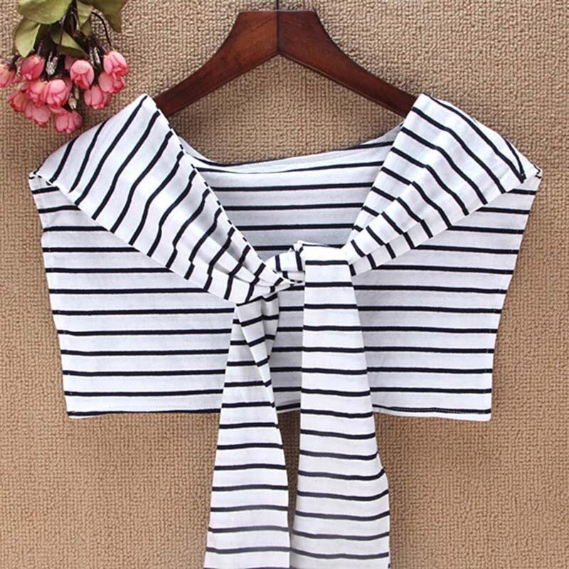 Fashion Classic Fake Collar Shirt Imitation Tie Fake Collar Small Shawl Black / White / Pinstripe Striped New Design