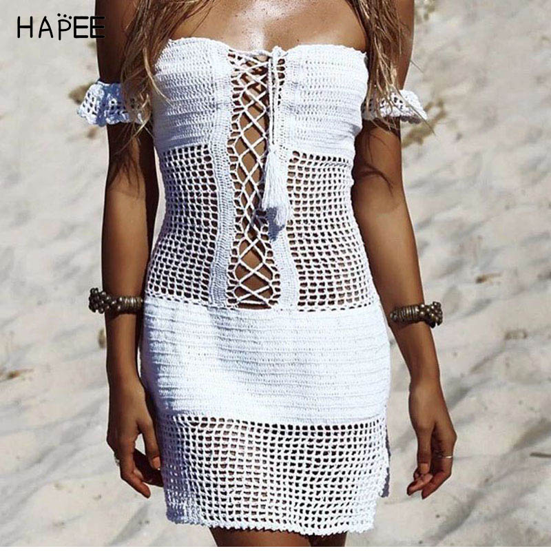 c50c75d2ae Sexy Off Shouder Crochet Beach Cover Up Stylish Tassel Sexy Beach Tunic  Women Bikini Cover-