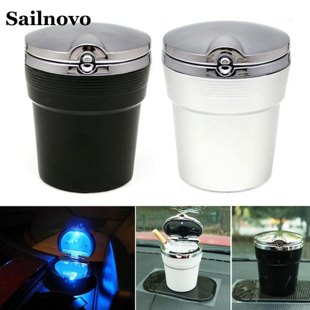 Car Ashtray with LED Light Cigarette Smoke Travel Remover Ash Cylinder Car Smokeless Smoke Cup Holder Storage Auto Accessories 3