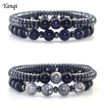 Fashion Luxury Matte Black Men Natural Stone 8mm Handmade Elastic Rope Hematite Beads Bracelet & Bangles Women charm Jewelry