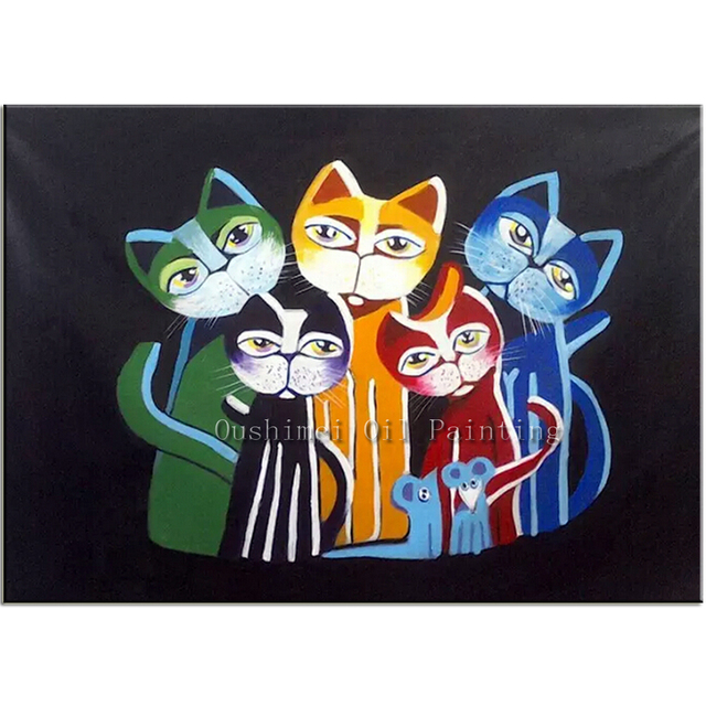 Modern Abstract Black Background Oil Painting Funny Animal Canvas Hand Painted Home Decor Cartoon