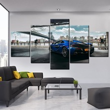 Modern Artwork Canvas Painting HD Prints Type Home Decorative One Set 5 Pieces McLaren 570S Blue Sport Car Rear View Pictures