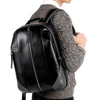 Pabojoe Brand Leather Backpack Men Casual Mochila Black Men Laptop Bag Boy School Shoulder