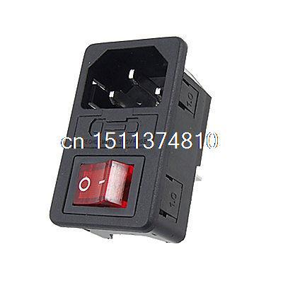 Red Light Boat Rocker Switch Fused IEC 320 C14 Inlet Power Socket Connector Plug g126y 2pcs red led light 25 31mm spst 4pin on off boat rocker switch 16a 250v 20a 125v car dashboard home high quality cheaper