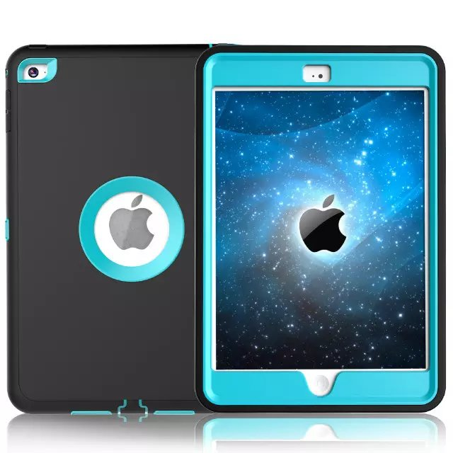 For Apple iPad mini 4 Case Cover Retina Kids Safe Armor Shockproof Heavy Duty Silicone Hard Case 3 PCS Free Gifts (9)