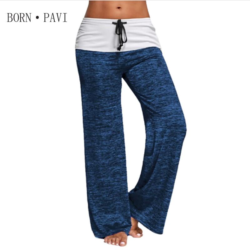 BORNPAVI New   Leggings   For Women Brand Patchwork Boot Cut Pant High Waist Elastic Wide Fitness Loose Dancing   Leggings   Streetwear
