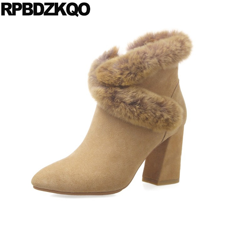 Furry Ankle Yellow Brand Women Winter Boots Genuine Leather High Heel Short Real Fur Suede Booties Chunky Shoes Pointed Toe elegant beige high heel 2017 booties autumn chunky metal genuine leather luxury brand shoes women boots short ankle pointed toe
