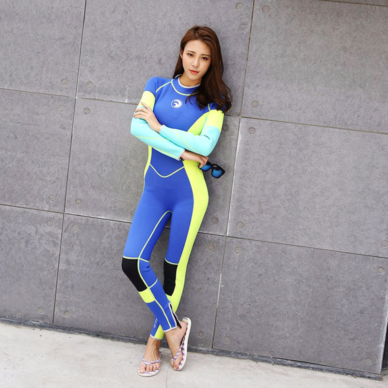 SEAC Woman one piece Elastic 3mm neoprene wetsuit Surfing diving suit Bright color splicing classic long-sleeved Free Shipping seac sub гарпун seac нерж сталь для пневматического ружья asso 50