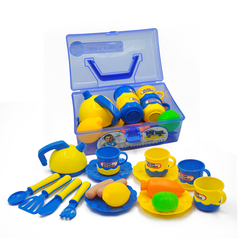 17pcs/set Kids Kitchen Toys Early Educational Kitchen Toy Pretend Play Plastic Vegetables And Fruit Food Cup Dishes Set Goods
