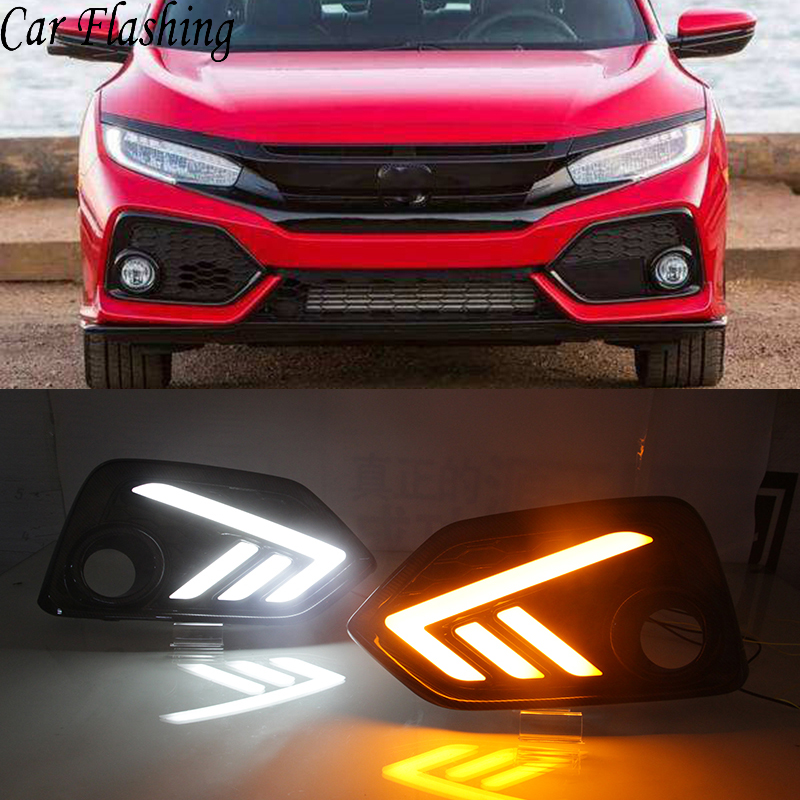 Car Flashing 2 Pcs For Honda Civic 10th Hatchback 2016 2017 2018 Auto LED DRL Daytime Running Lights With Yellow Turn Signal
