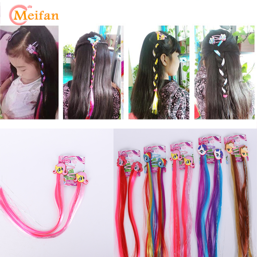 MEIFAN My Little Ponis Hair Accessories Braid Hair Clip Cosplay Costumes Princess Braid Hairpin Kids Barrette Cosplay   Headwear