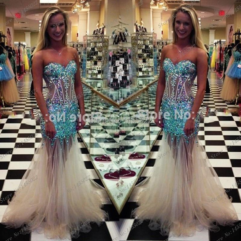 Turquoise Prom Dresses with Rhinestones