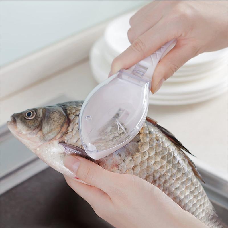 Practical Plastic Fishing Scale Skin Remover Scaler Skinner Scraper Knife Cleaner Kitchen Peeler Fishing Tool Kitchenware Peeler