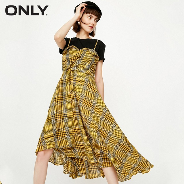 ONLY   High-low check dress female  118307514