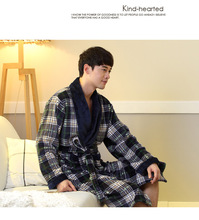 L XL XXL Plus size Winter new Thicken warm men's bathrobe dressing gown men robes bath 2 styles flannel plaid sleepwear Q1456