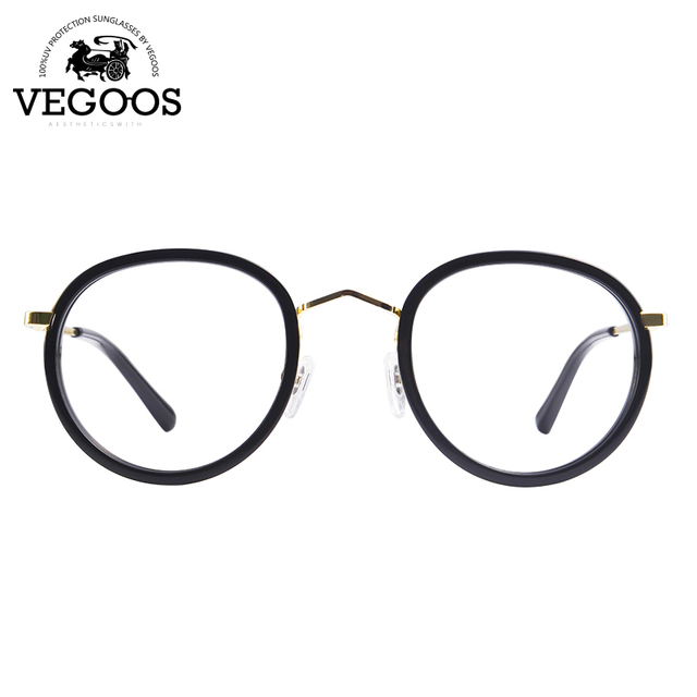 VEGOOS nuevo diseño de metal retro marco redondo mujeres gafas lente transparente marcos ópticos gafas de grau Masculino de Cristal #5076