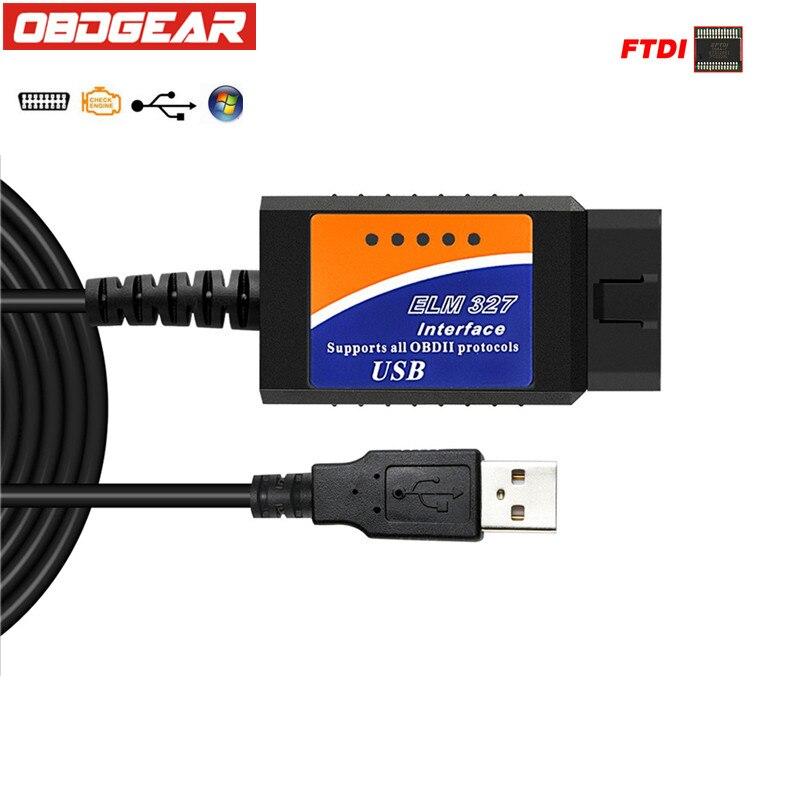 ELM327 USB FTDI FT232RL Chip V1.5 OBD2 Scanner OBD 2 ELM 327 V1.5 Interface OBDII Auto Diagnostic Tool OBD 2 Automotive Scanner