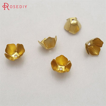 (29446)200PCS 8MM height 5MM Not plated color Brass Small Flower Beads Caps Diy Jewelry Findings Accessories Wholesale