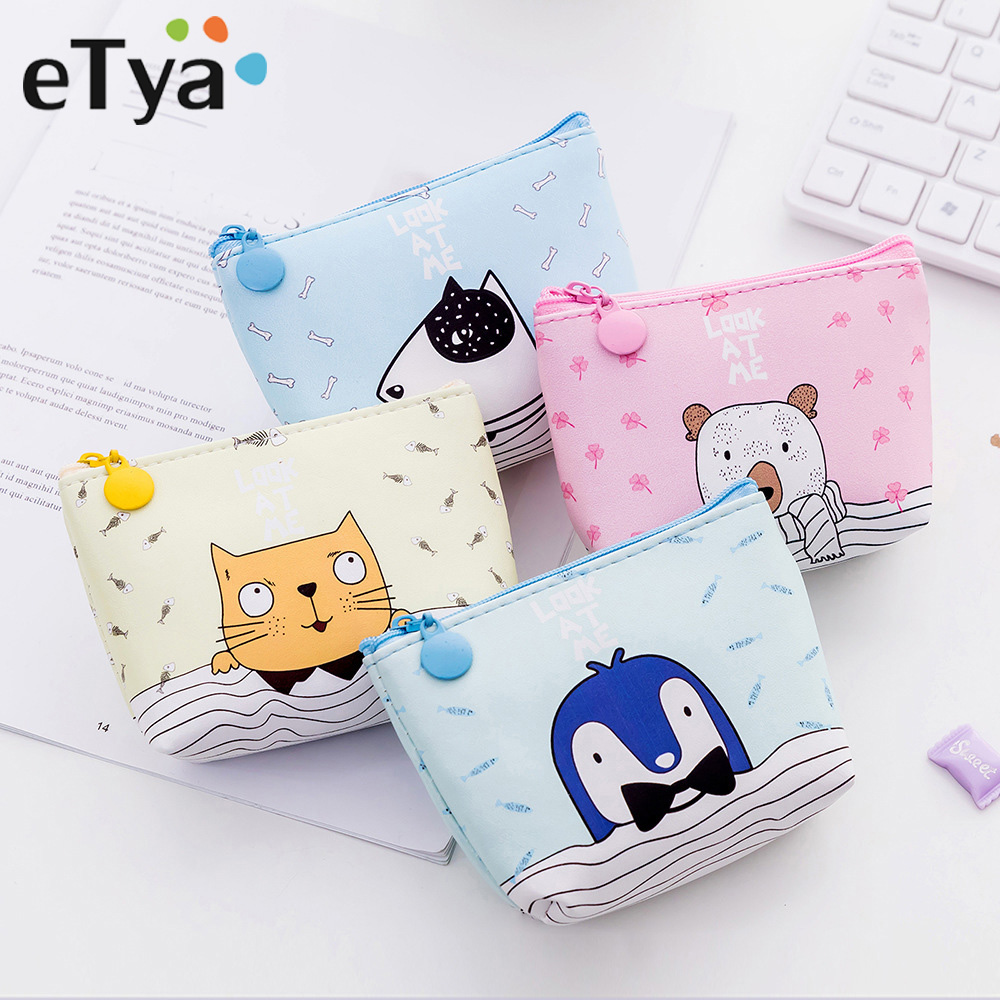 ETya New Cartoon Cute Cat Coin Purses For Women Girls Baby Kids Gift PU Leather Zipper Wallets Key Bag Female Coin Purse