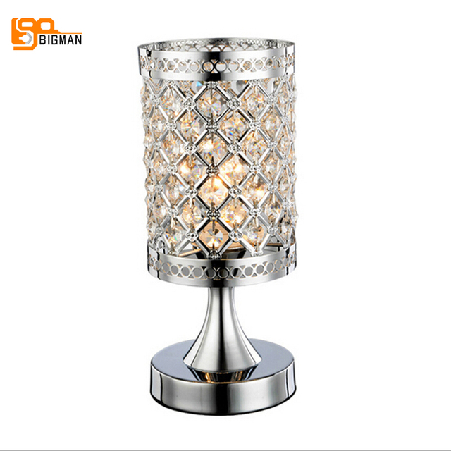 New Design Crystal Table Lamp Modern Table Light Gold/silver Bedroom Beside  Lamp Free Shipping