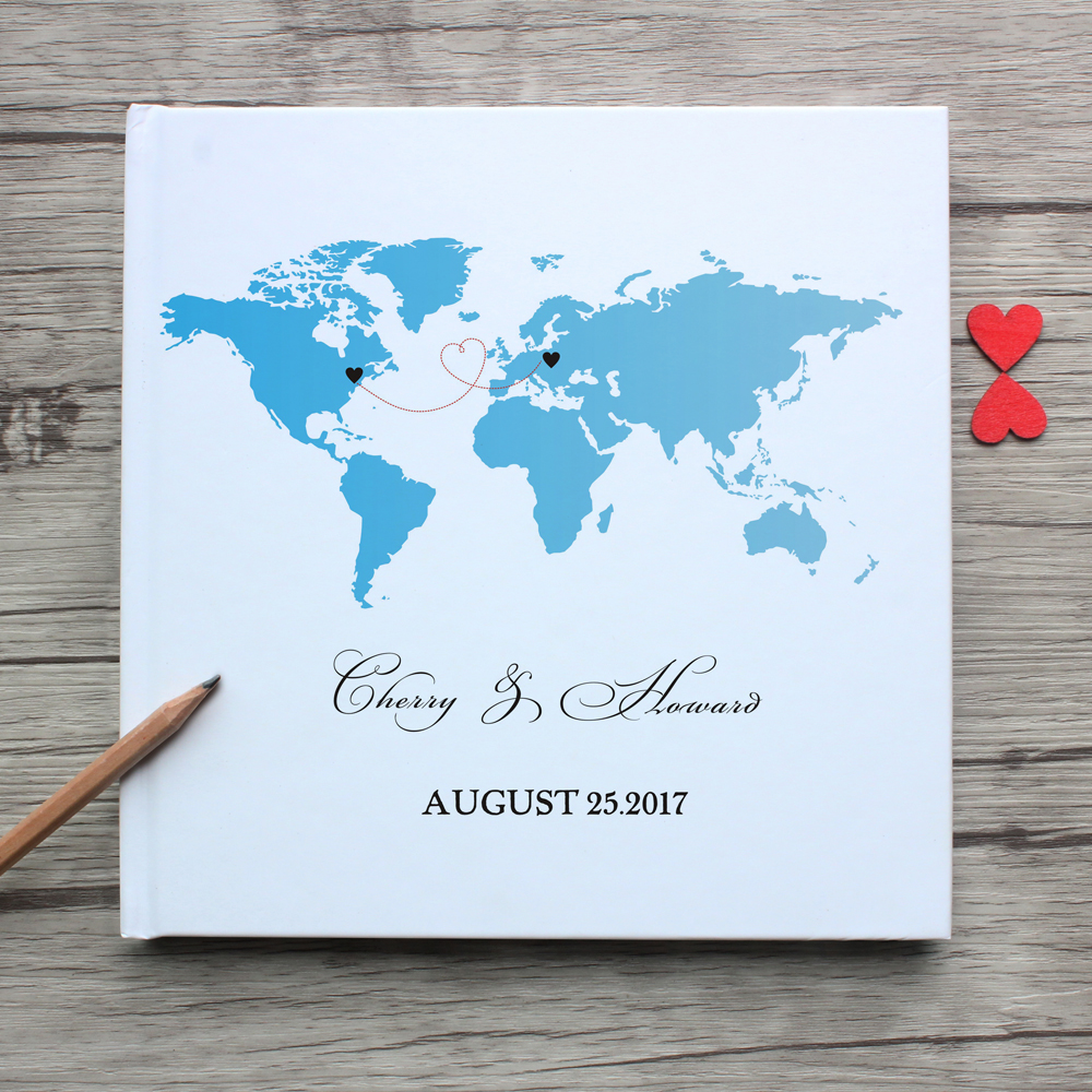 Custom World State Map White Wedding Guest Book Alternative,Personalized Long Distance Friendship Photo Album,Graduate Sign