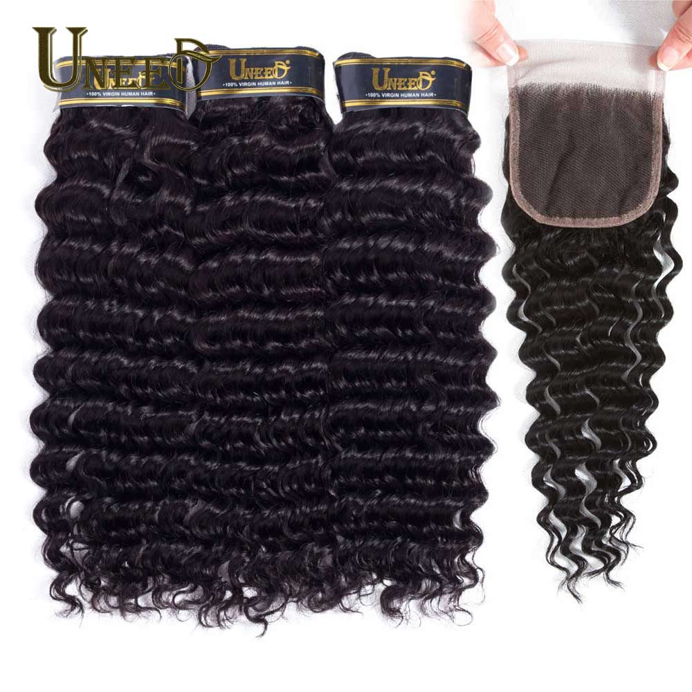 Uneed Hair Peruvian Deep Wave 3 4 Bundles With Closure Human Hair Bundles With Lace Closure