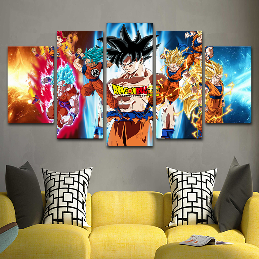 Vintage Home Decoration Paintings On Canvas Posters 5 Panel Anime Dragon Ball Goku Framework Pictures Prints On The Wall