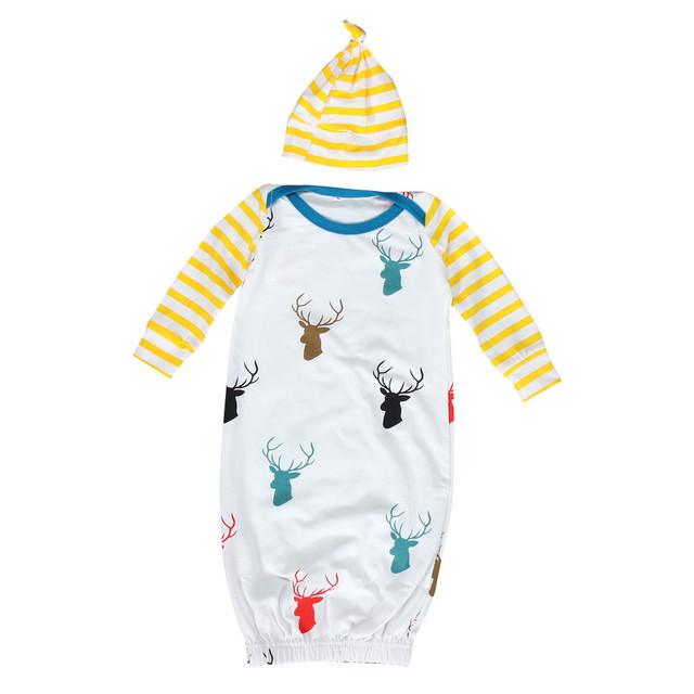 1Set Infant Baby Long Sleeve Deer Print Newborn Gown Matching Hat ...
