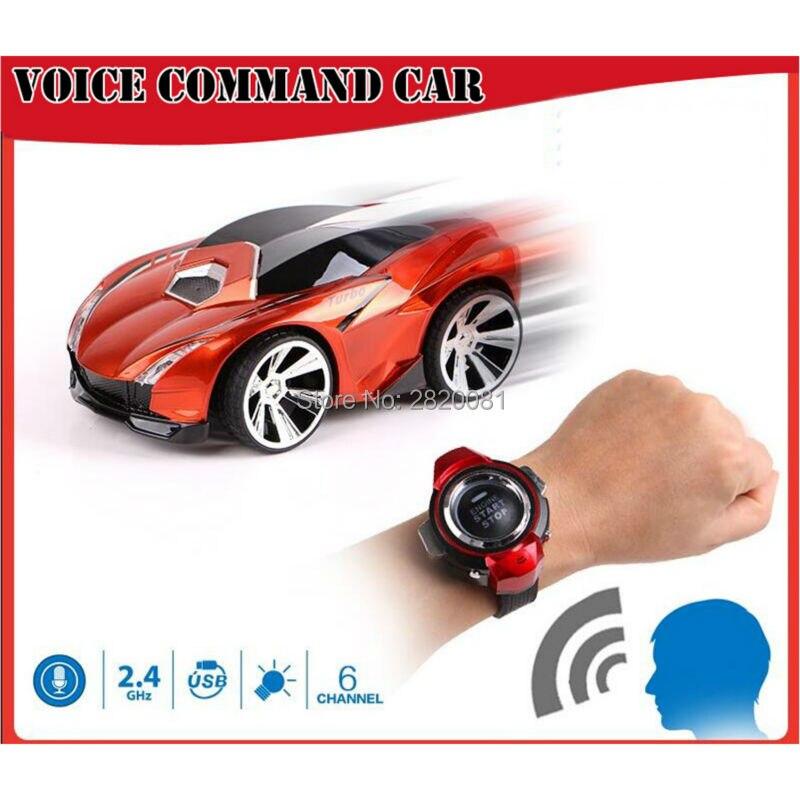 Reloj inteligente turbo racer control de voz coche de mando, 6CH modelo con el coche luz y sonido radio RC juguete inteligente
