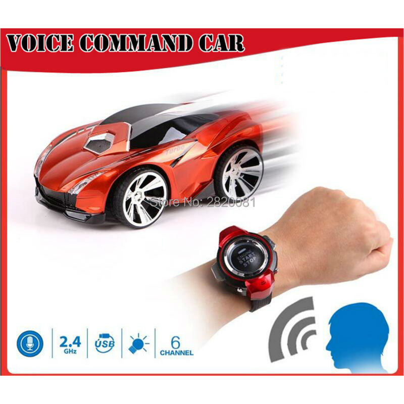 Smart watch turbo racer voice control command car, 6CH model car with light&sound radio RC intelligent toy