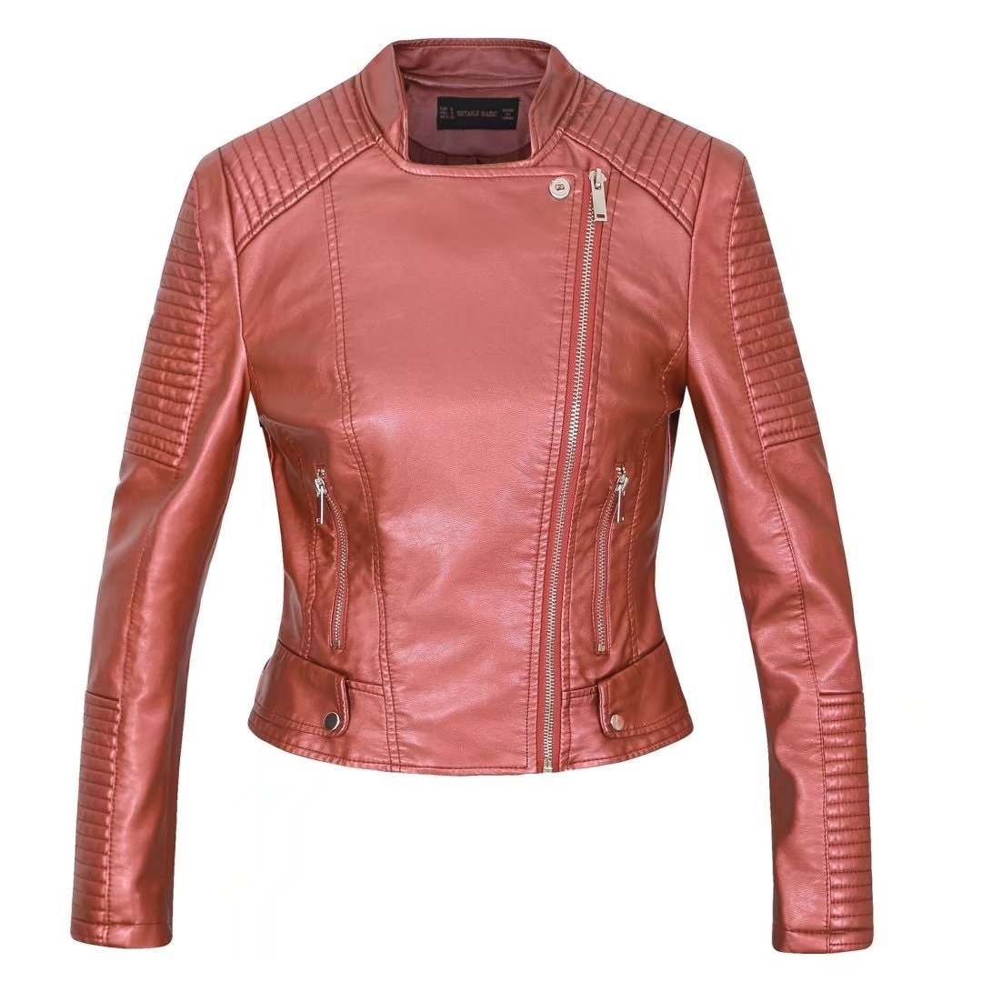 Lusumily Moto Biker   Leather   Jacket Women Zipper Soft Pu Faux   Leather   Coat Soft Pu Jackets Jaqueta Couro Rock Cuir Femme Casaco