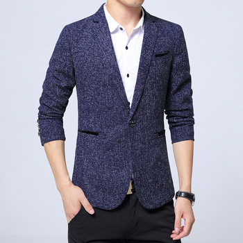 Fall 2020 men leisure blazer Cultivate one's morality of youth fashion splicing British blazer pure color blazer