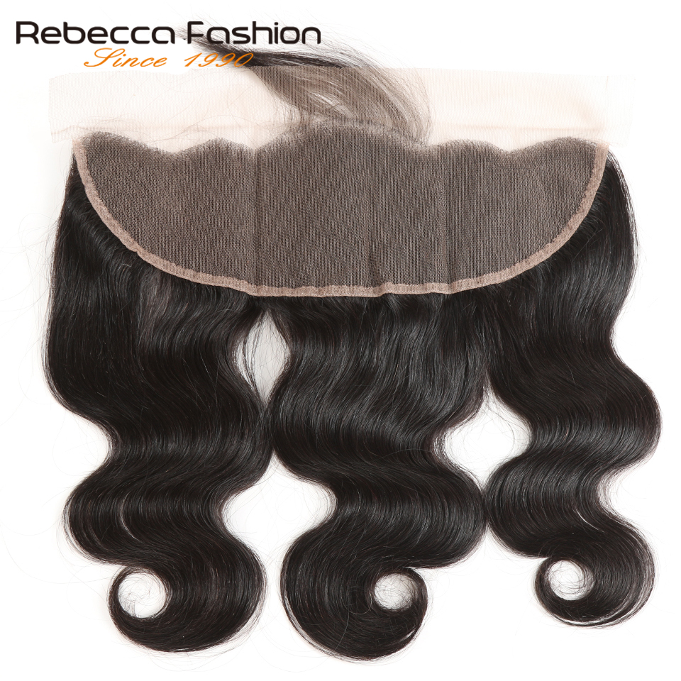 Rebecca Brazilian Remy Hair Body Wave Lace Frontal 13x4 Human Hair Closure Ear To Ear Lace Closure 8 To 20 Inch Natural Black