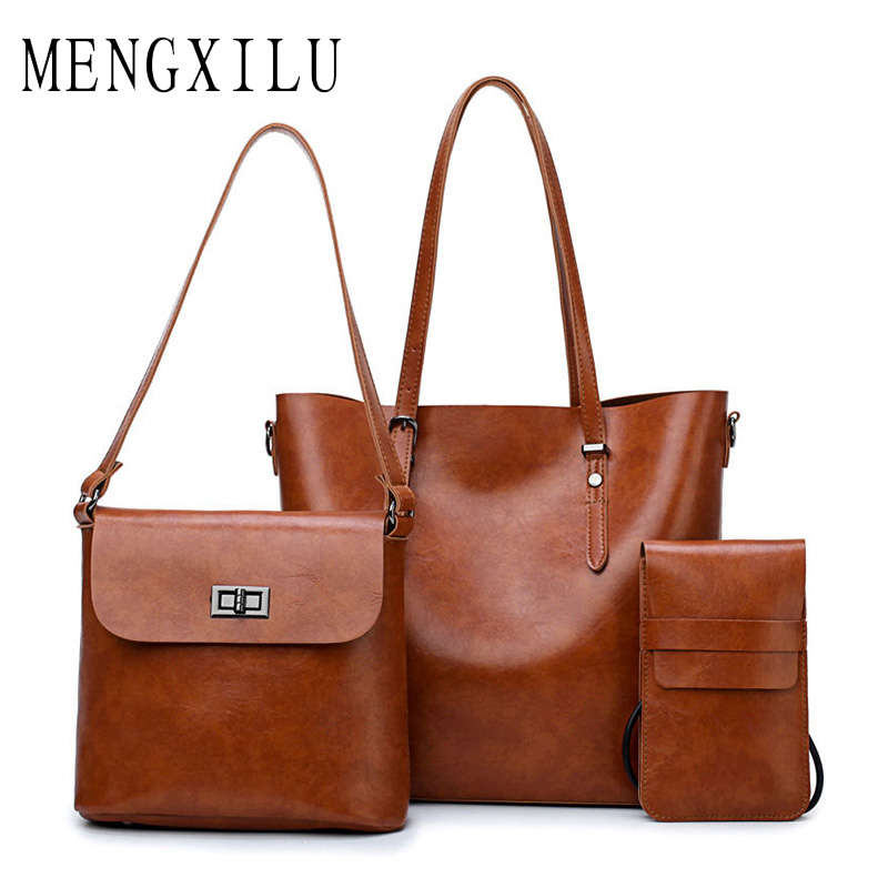 MENGXILU 3 SeT Leather Women's Handbag Bucket Women Bags Handbags Women Famous Brands Big Casual Tote Bag Ladies Shoulder Bags new simulation horse plush toy 4 styles stuffed animal dolls high quality classic toys kids birthday gift home decor prop toy