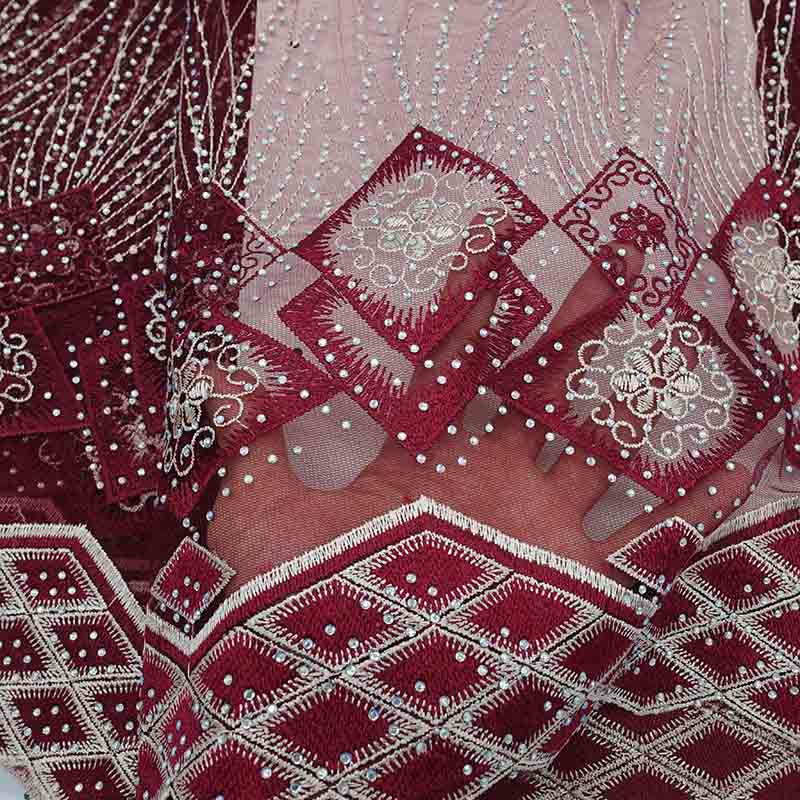 Vino Rosso Tessuto Del Merletto Nigeriano 2019 Africano Merletto Svizzero Del Voile Guipure di Alta Qualità Francese Ricamato Tulle Pizzo Per Abito Da Sposa-in Pizzo da Casa e giardino su  Gruppo 2