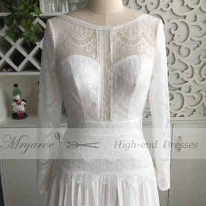Image 2 - Mryarce 2019 Boho Chic Exclusive Lace Rustic Wedding Dress Illusion Long Sleeves Open Back Bridal Gowns