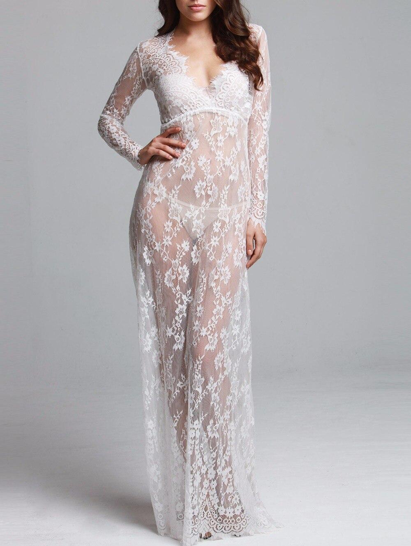 2019 Pregnant Lace Dress Women Front Split Long Maxi Maternity Black&White Lace Dress Gown Photography Prop See Through Dress (14)