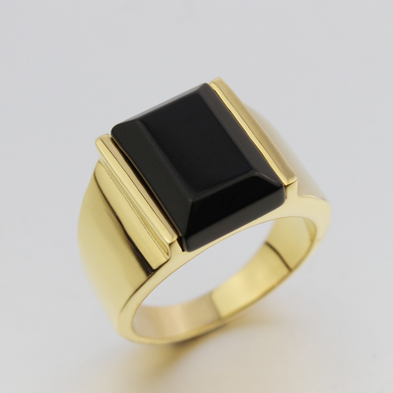 Big Men s Black yx Ring 18K GP Yellow Gold Ring for Men Size 7 8