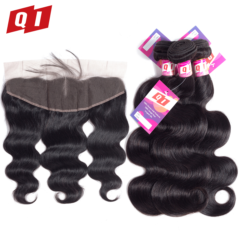 QI Hair Products 100% Non Remy Natural Color Human Hair 3 Bundles With 13*4 Lace Frontal Closure Peruvian Body Wave ...