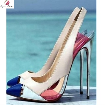 Original Intention Stylish Sandals Slingbacks Pointed Toe Sweet Thin High Heels Sandals Fashion Shoes Woman Plus Size 4-15