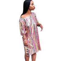 Women Colorful Pink Sequin Dress Sexy O neck Short Sleeve Loose Glitter Knee length Dress Ladies Clubwear Party Sparkly Dresses