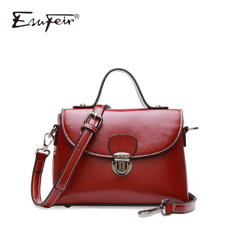 Фото 2018 Simple Genuine Leather Women Messenger Bag Oil Wax Cow Leather Shoulder Bags Luxry Brand Women Handbag Small Crossbody Bag