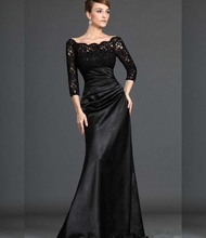 Black Lace Satin Evening Dress Three Quarter Sleeves Back Zipper Long Bag Hips Mother of the